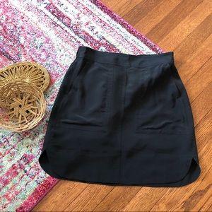 madewell black silk distance skirt style e9440